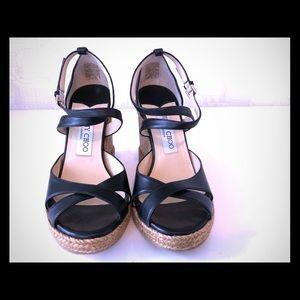 Jimmy Choo Alanah Espadrille Wedge Sandals Size 7
